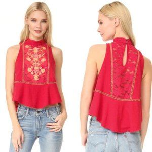 Free People Flora Embroidered Crop Top Red Size XS